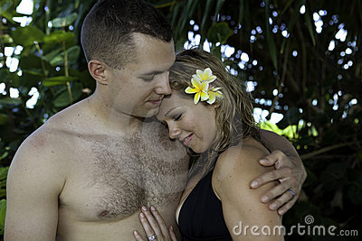 Marine and his wife in a garden