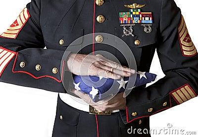Marine Holding A Flag