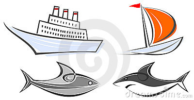 Marine icons - ocean liner, yacht, shark and fish