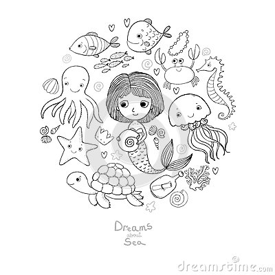 Free Marine Illustrations Set. Little Cute Cartoon Mermaid, Funny Fish, Starfish, Bottle With A Note, Algae, Various Shells Stock Images - 83673084