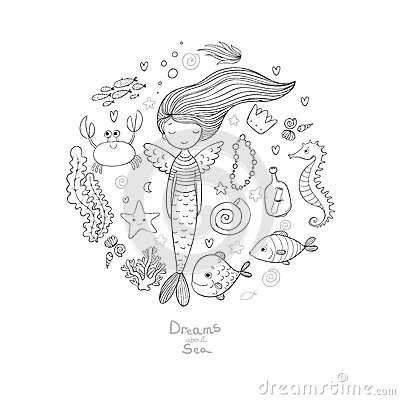 Free Marine Illustrations Set. Little Cute Cartoon Mermaid, Funny Fish, Starfish, Bottle With A Note, Algae, Various Shells Royalty Free Stock Images - 84291049
