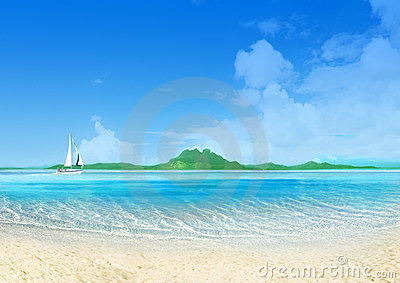 Marine landscape with sailing boat