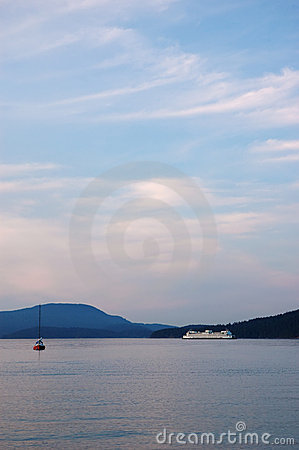 Free Marine Landscape With A Ferry And A Small Boat Stock Photography - 11859802