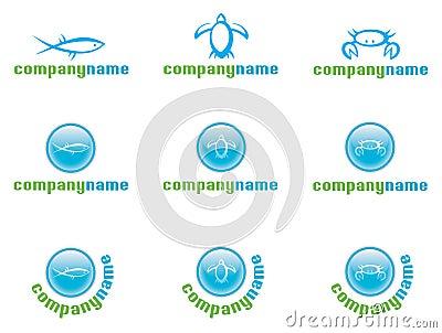 Marine life logo set