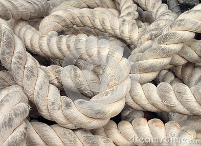 Marine rope as a life line concept for a boat or yacht in a tangled ...