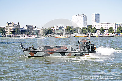 Marine ship is cruising in Rotterdam the Netherlands Editorial Image