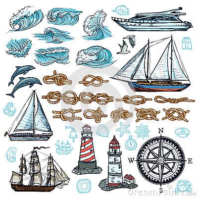 Free Marine Sketch Set Stock Photos - 83470153