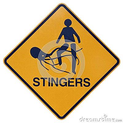 Free Marine Stingers Or Jelly Fish Warning Sign Stock Image - 15024041