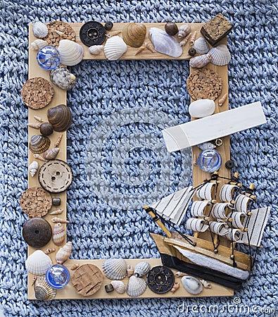 Marine wood frame with ship
