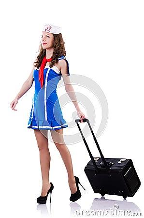 Marinheiro da mulher com mala de viagem