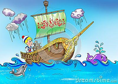 Marinheiro pequeno no barco