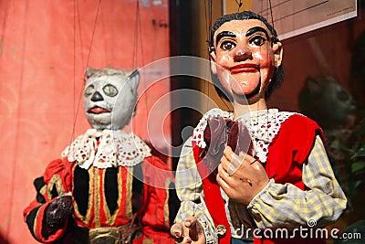 Marionetas medievales del payaso Imagen de archivo editorial