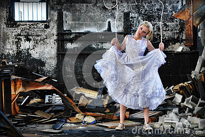 Marionette woman in ruins