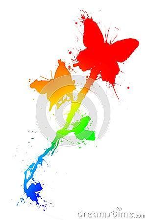 Mariposas en salpicadura de la pintura