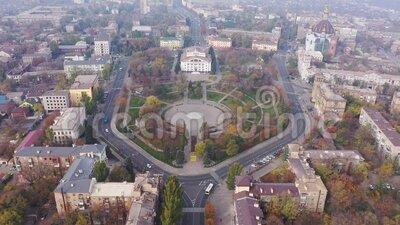 Mariupol Ukraine. Aerial view of the city. City in the fog.  stock footage