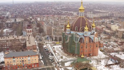 Aerial view. The largest temple in Mariupol Ukraine. MARIUPOL, UKRAINE - December 29, 2018 : Aerial view. The largest temple in Mariupol Ukraine. Cathedral of stock footage