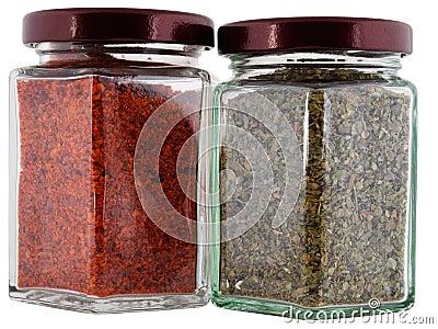 Marjoram and chilli pepper