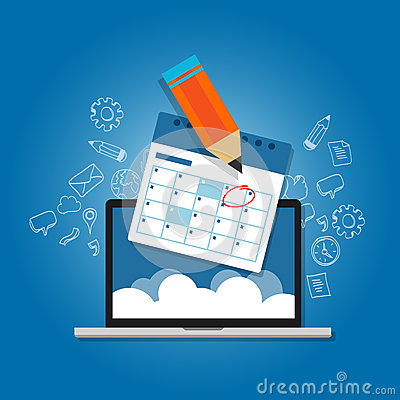 Free Mark Circle Your Calendar Agenda Online Cloud Planning Laptop Stock Photo - 67353520