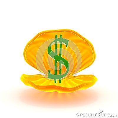 mark of dollar inside mussel