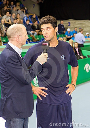 Mark Philippoussis (r.) at Zurich Open 2012 Editorial Stock Photo