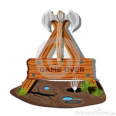 Mark's colorful menu interface on a wooden sign in the grass for mobile games and applications. The game is over. Vector Cartoon Illustration