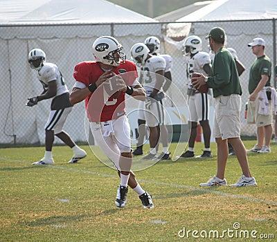 Mark Sanchez Trains at NY Jets Training Camp Editorial Stock Photo