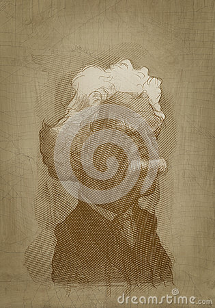 Mark Twain sepia portrait engraving style Editorial Stock Photo