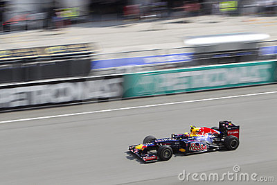 Mark Webber down the main straight Editorial Image