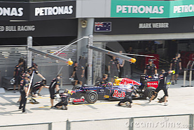 Mark Webber enters pitlane for trial pit stop Editorial Photography