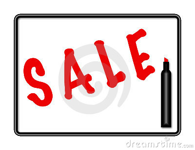 Marker Board Sale Sign Illustration - Red Marker