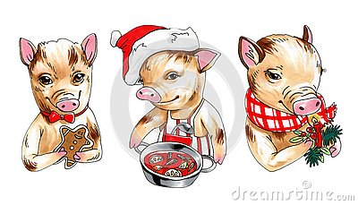Marker illustration collection of mini pigs with new year decor, drinks and food Cartoon Illustration