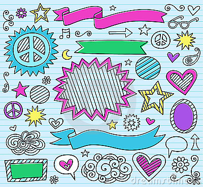 Marker Notebook Doodles Vector Illustration