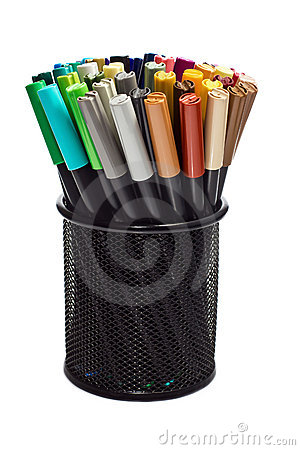 Free Markers In Pencil Holder Stock Photo - 22792670