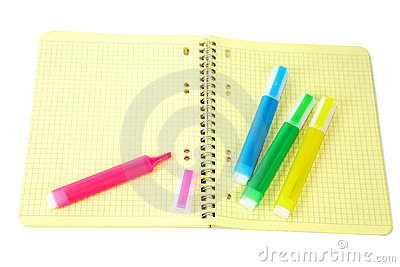 Markers and writing-book with a spiral