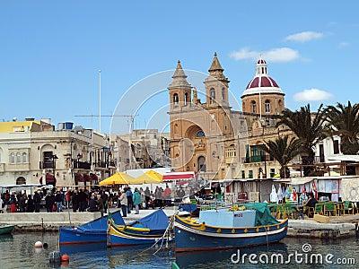 Market Day, Marsaxlokk in Malta Editorial Stock Photo