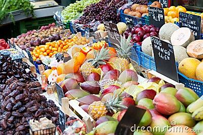 Market with fresh fruits