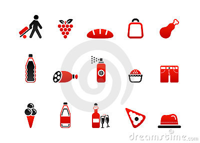 Market icons red four