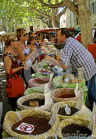 Free Market Scene, Provence, France Royalty Free Stock Images - 71445609
