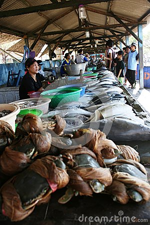 Market selling fresh fish Editorial Stock Photo