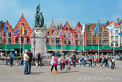 Market Square in Bruges Editorial Photo
