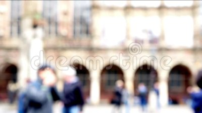 On market square in from of main hall in Bremen, Germany unidentifiable people walking.. stock footage