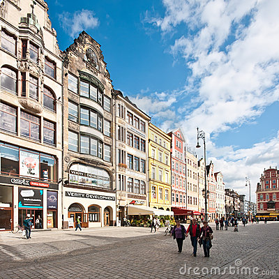 Market Square - main square in Wroclaw, Poland Editorial Stock Photo