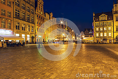 Market Square at night, Wroclaw Editorial Image