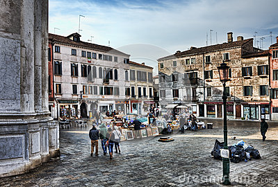 Market Square in Venice Editorial Photography