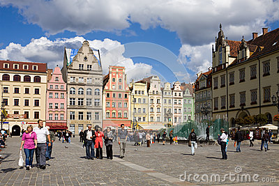 The Market square in Wroclaw, Poland Editorial Stock Image