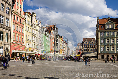 The Market square in Wroclaw, Poland Editorial Photo