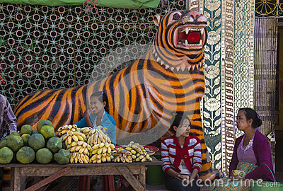 Market Stall Tiger - Mount Popa - Myanmar (Burma) Editorial Photography