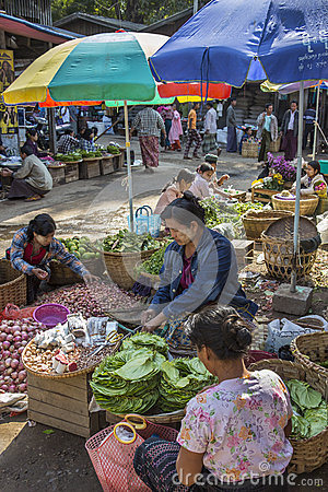 Market stall selling Betel Leaf - Myanmar (Burma) Editorial Photography