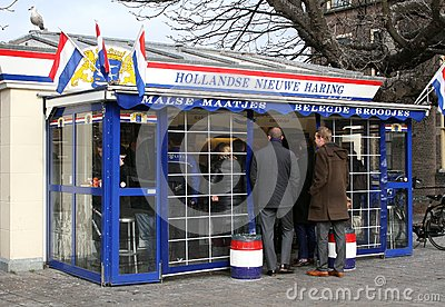 Famous Dutch New Herring stand in residence The Hague, Netherlands  Editorial Stock Image