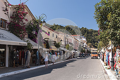 Market Street Katakolon, Greece Editorial Photography